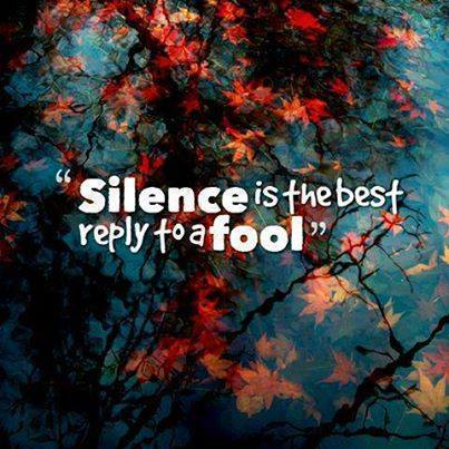silence best reply to fool