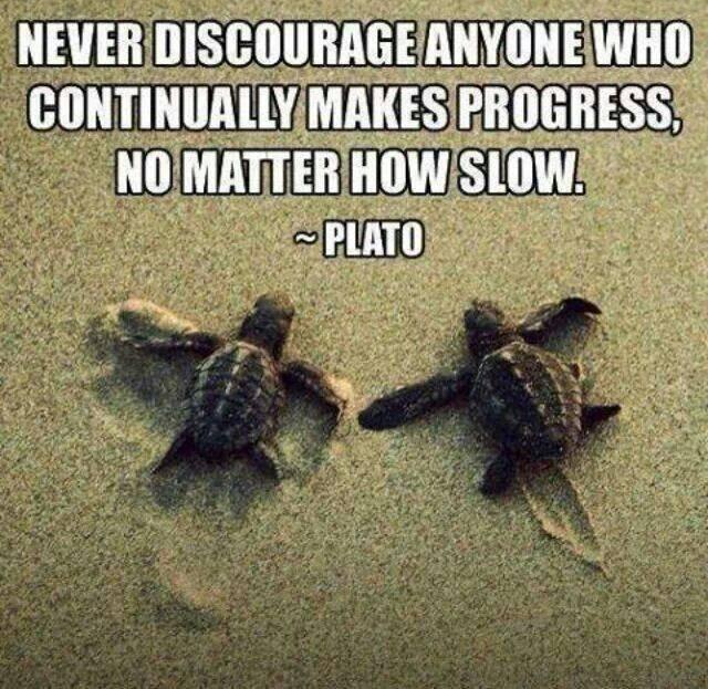 encourage progress however slow