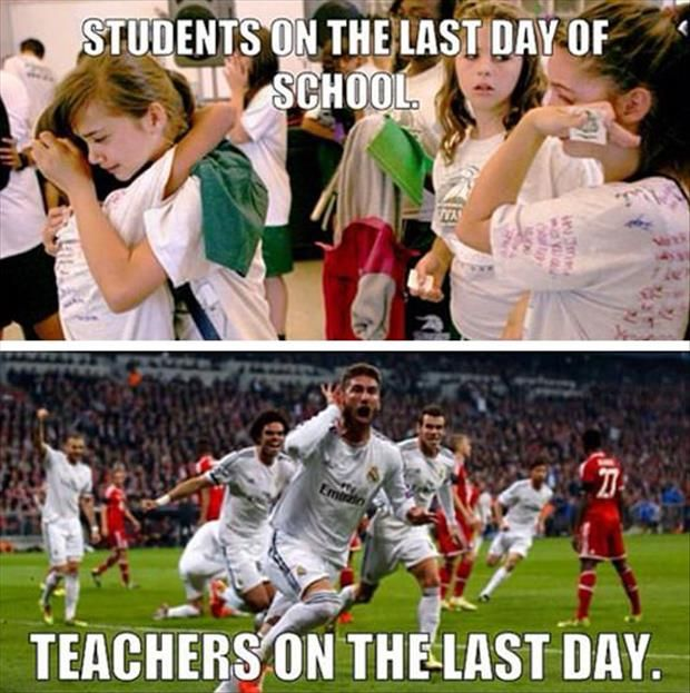 students-teachers last day school