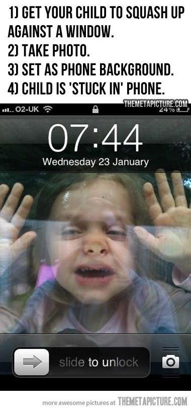 child stuck in phone