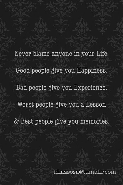 never blame people