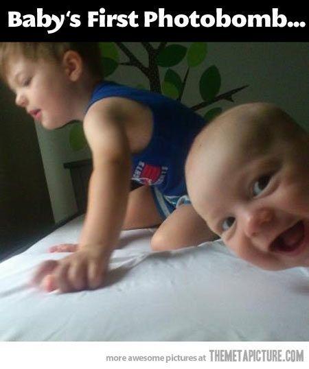 baby photobomb