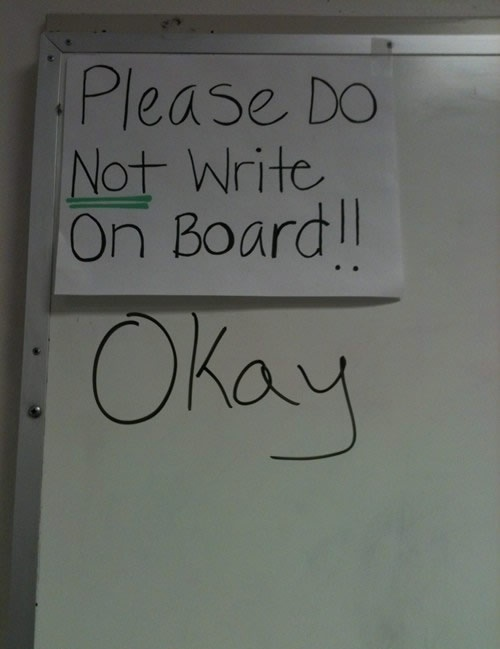 do not write on board