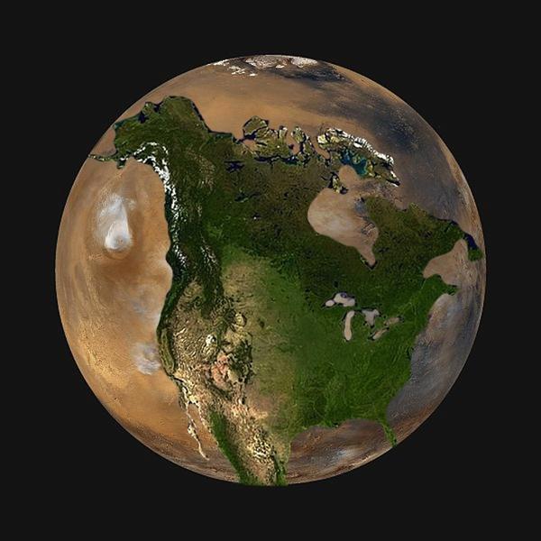 planet size-USA Mars