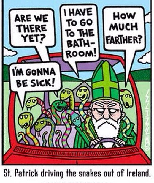 Saint Patrick driving the snakes