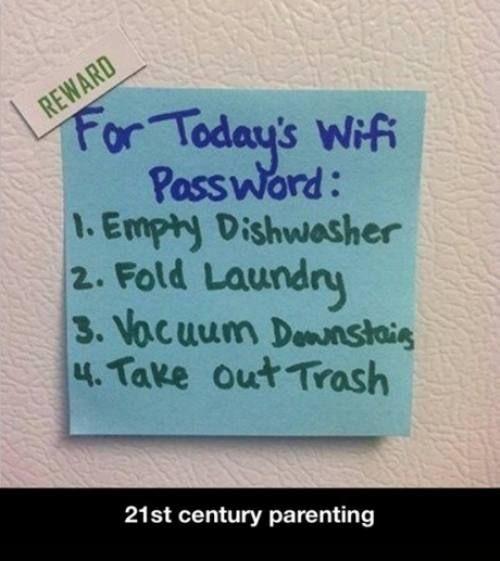 today wifi password chores