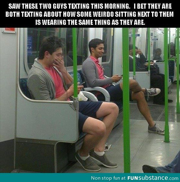 guys texting wearing same outfit