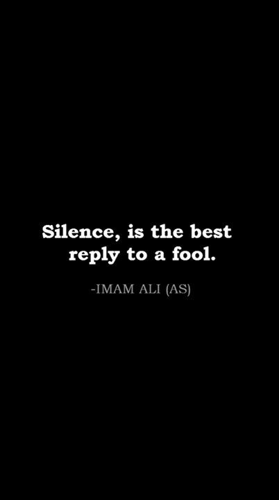 silence best reply fool