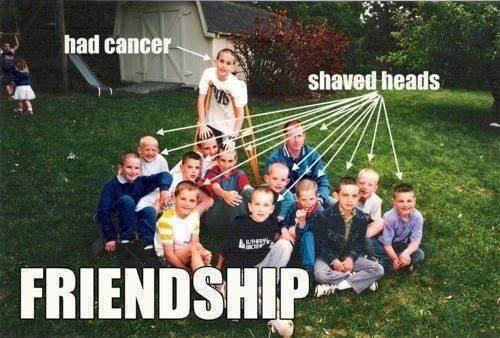 true friendship - cancer - shaved heads