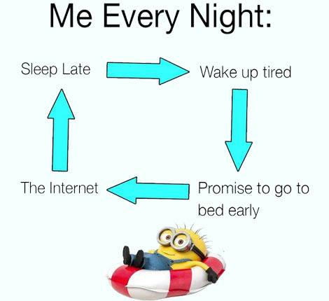 sleep late wake up tired internet