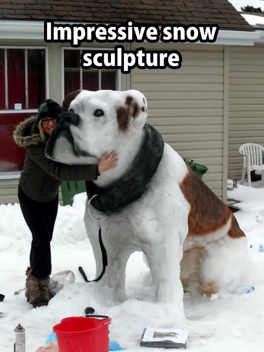 dog snow sculpture