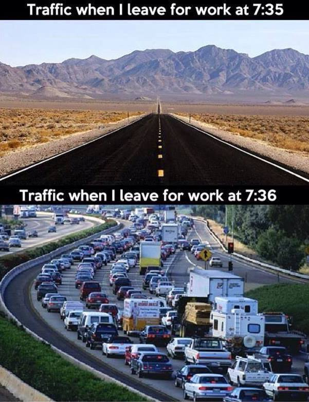 traffic leave for work 5 minutes