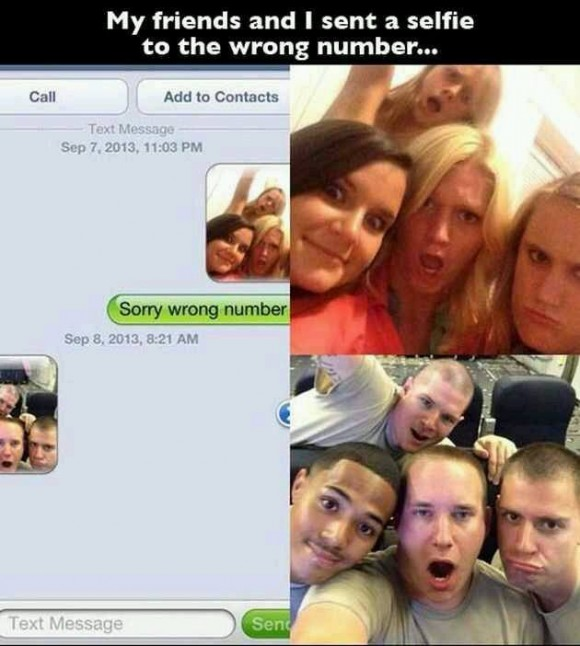 selfie wrong number