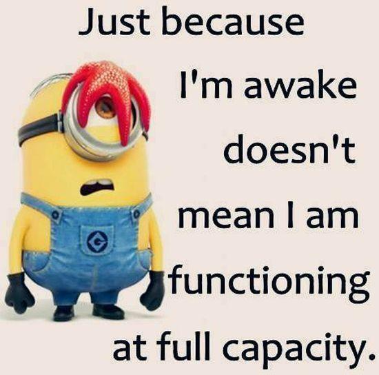 awake - not functioning full capacity