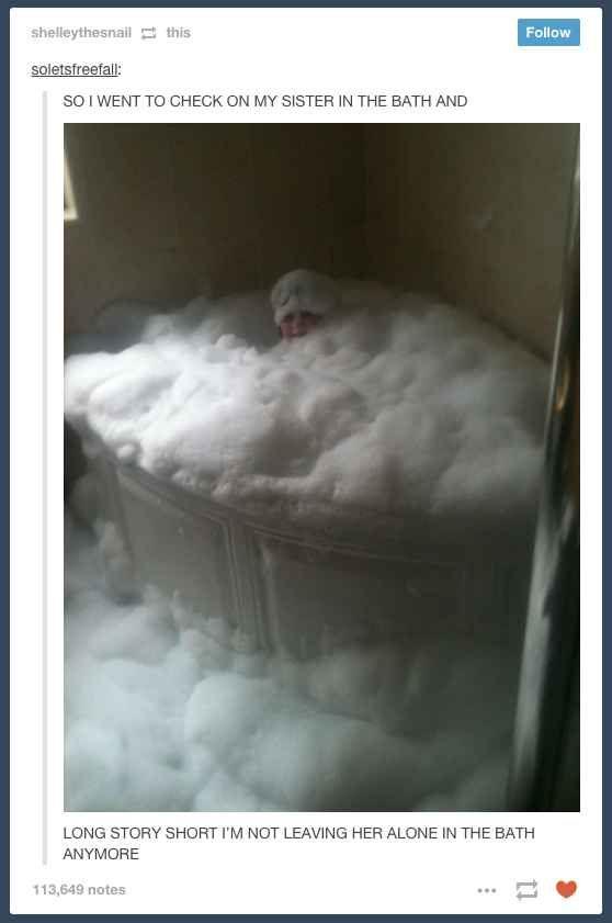 sister in bath