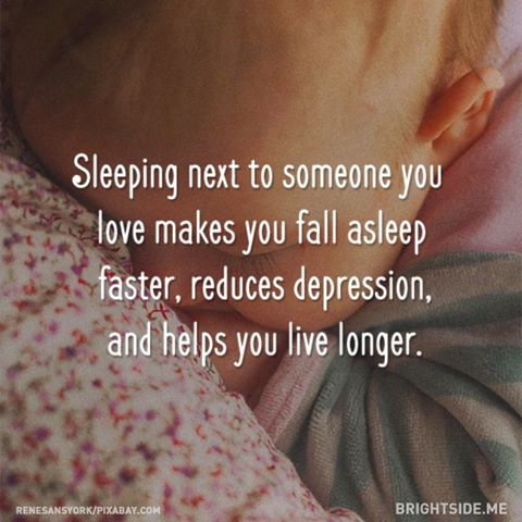 sleeping next to someone you love