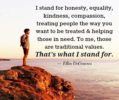 traditional values - Ellen De Generes