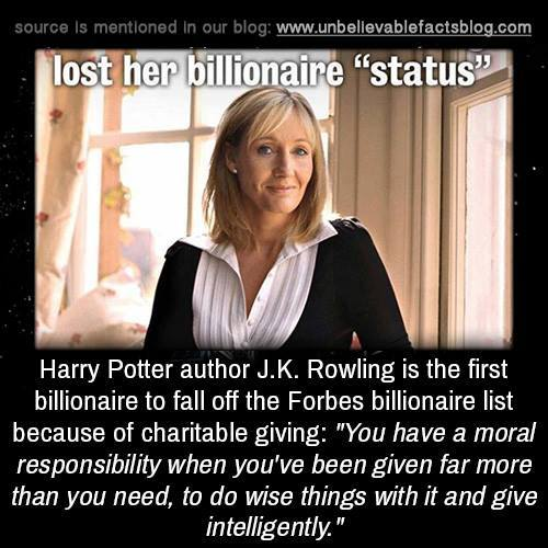 Rowling lost billionaire status
