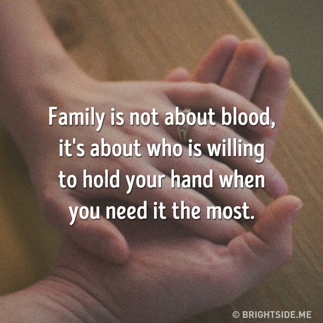 family not blood - hold hand